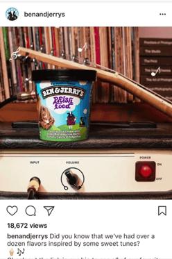 Ben & Jerry's utilizes short videos on Instagram.