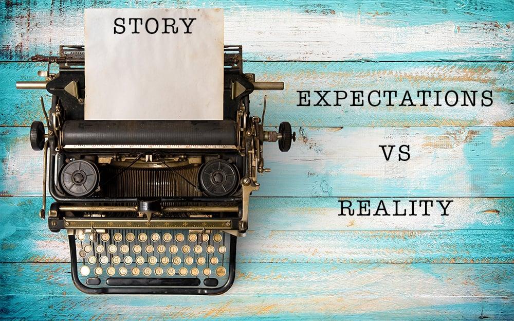 Typewriter saying expectations vs. reality.