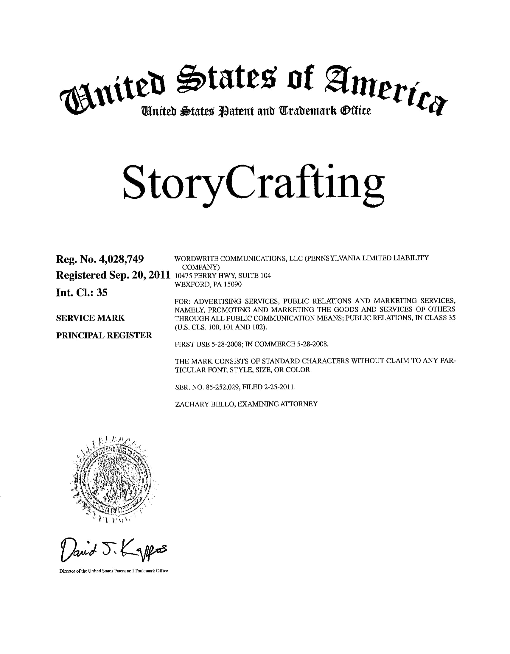 StoryCrafting Registration Mark  approval