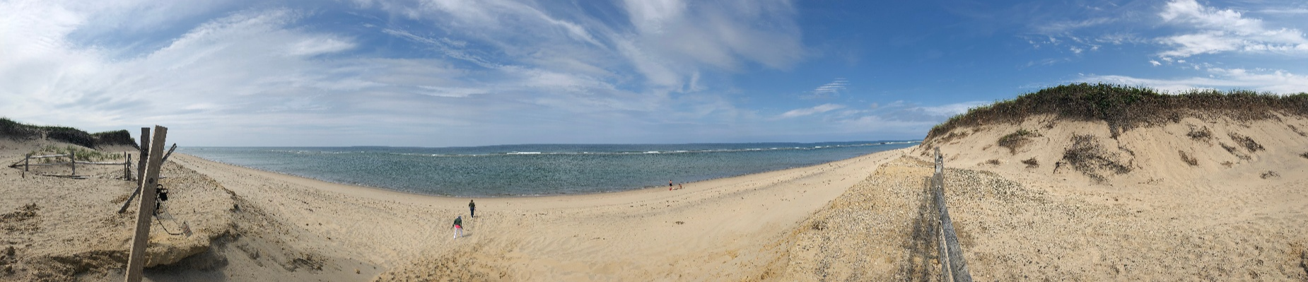 panoramic view of a beach and ocean