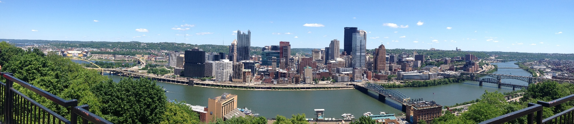 Panoramic view of Pittsburgh's skyline during the day
