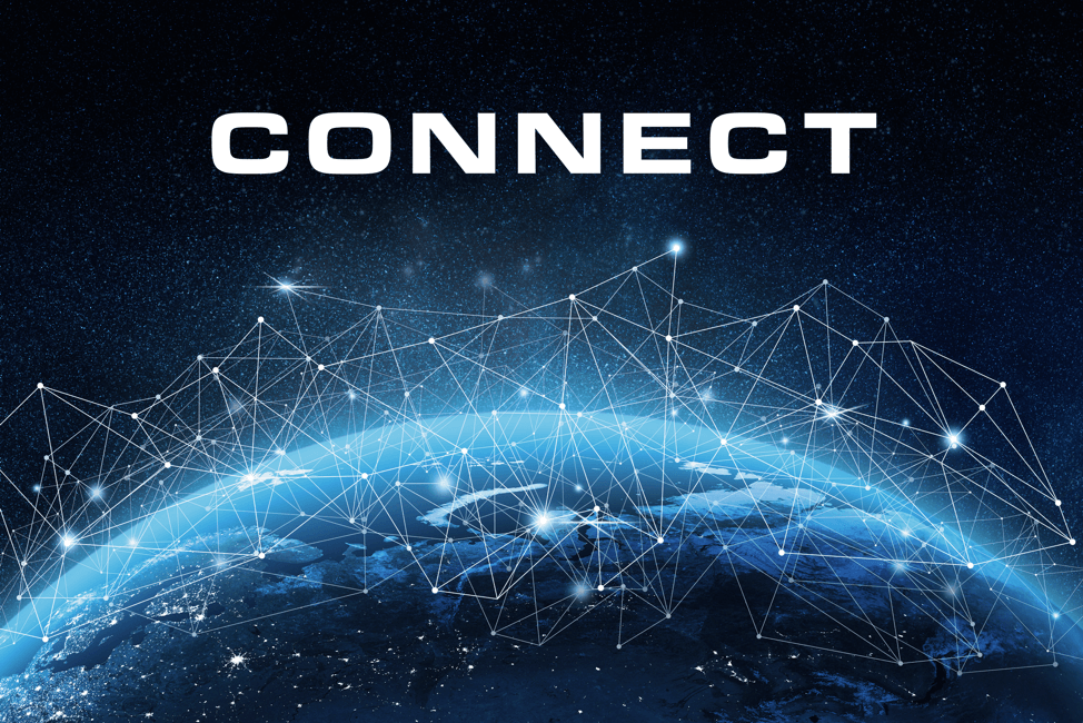 "The word ""connect"" above a networked globe."