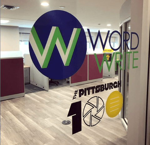 Door with the WordWrite and The Pittsburgh 100 logo.